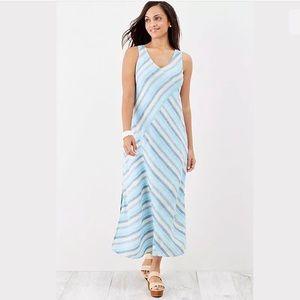 J. Jill 100% Linen Striped Maxi Dress Multi Color